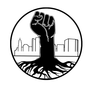2018 Community Pride logo by Sean Bailey. A black and white graphic line drawing, a black fist rises up out of the ground connected to many roots in front of a city skyline.